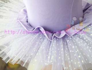 pink Dots Dance Leotard Ballet TuTu Costume Fairy Dress 3 8 yrs