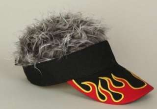 Flair Hair Visor Hat Golf Gray Grey Flame New Wig Cap