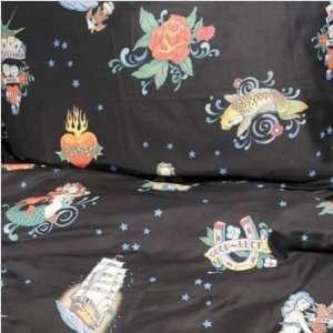 Sin In Linen Tattoo Flash Black Pillow Case Set   Standard