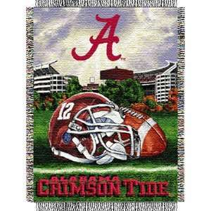 Alabama Crimson Tide Woven Tapestry NCAA Throw (Home Field
