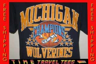 vintage 1989 LOGO 7 MICHIGAN WOLVERINES NCAA CHAMPS T Shirt LARGE soft