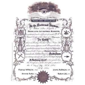 Personalized Prince Hall Master Mason Masonic Certificate