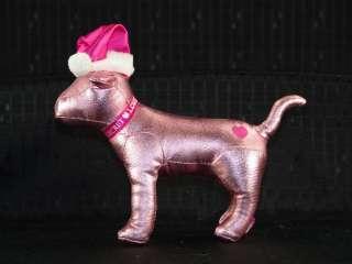 Victorias Secret Metallic Pink Heart Love Santa Dog Toy
