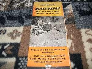 JOHN DEERE BULLDOZERS FOR JOHN DEERE MC TRACK TYPE TRACTORS BROCHURE