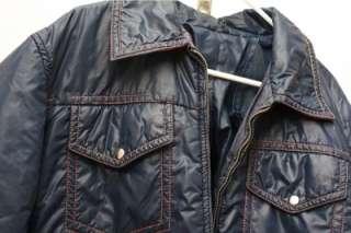 1970s vintage retro winter ski athletic jacket coat navy blue red
