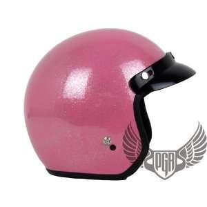 Vintage Bobber Motorcycle Helmet DOT Approved (X Large, Glitter Pink