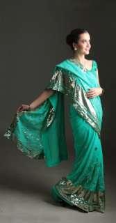 rose Indien Saree Ventre Danse ROBE KAFTAN Stoff