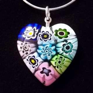 Genuine Italian Venetian MILLEFIORI Glass Heart Necklace Pendant