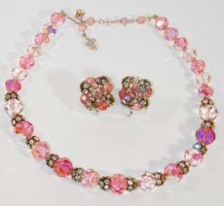Vendome Vintage Pink Crystal & Rhinestone Necklace & Earrings Set