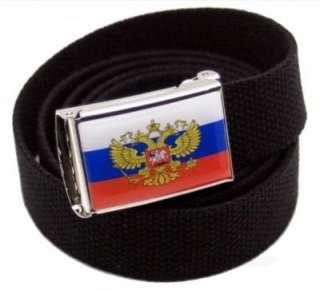 CUSTOM MADE RUSSIAN FLAG CANVAS WEB BELT & BUCKLE