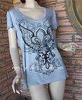 Gothic Rhinestone Shield Fleur De Lis Angel Wings Biker Harley T Shirt
