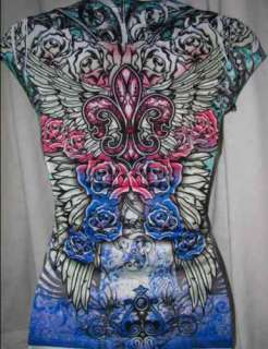 Roses~N~Fleur De Lis Angel Wing Rhinestone Tattoo Top T SHIRT L