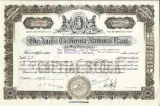 Anglo California National Bank of San Francisco Stock