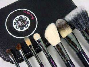Hot 7 pcs Hello Kitty Makeup Brush Set & Faux Leather Case Black
