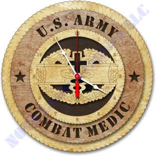 United States Army Combat Medic Badge Birch Wall Clock