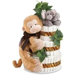 Jungle Baby Diaper Cake Baby Shower Centerpiece Gift