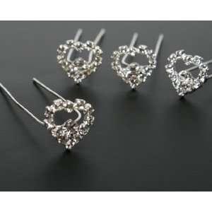 Package of 12 Heart Shaped Rhinestone Flower Hair Jewelry