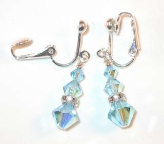 SWAROVSKI CRYSTAL ELEMENTS Sterling Silver Earrings AQUAMARINE Blue