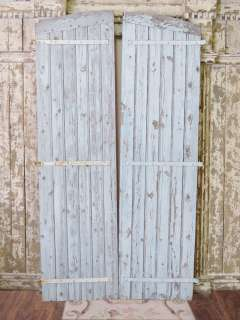 Chippy Blue Barn Door Grey Finish Arched French Style Large