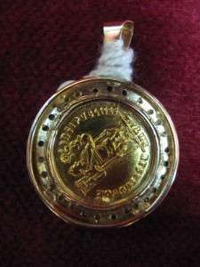 Ancient Rome Gold Solidus, 14ct Gold Pendant w Sapphire