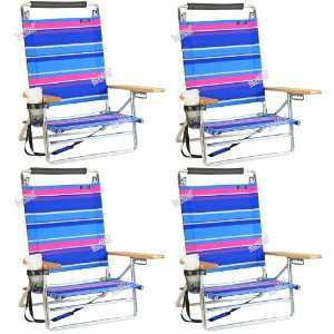pos Lay Flat / Low Seat Aluminum Beach Chair w/ Cup Holder   4 chairs