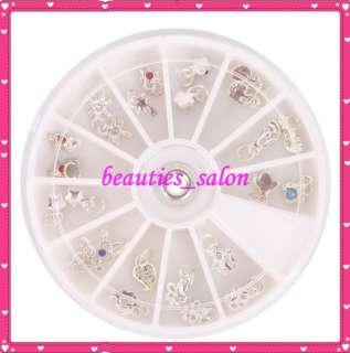 24 Tiny Colored Crystal Nail Art Dangles jewelry & ring