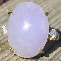 Vintage Estate 14k Yellow Gold Ring w Natural Lavender Jade w Diamonds
