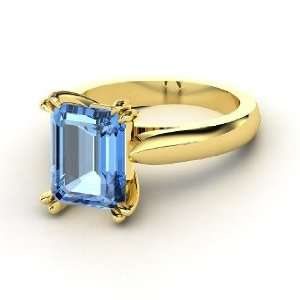 Julianne Ring, Emerald Cut Blue Topaz 14K Yellow Gold Ring