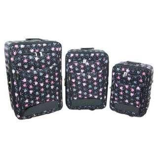 3 Piece Black & Pink Skull Print Luggage Set Travel