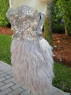 BEBE DRESS feather Dress large 185146 isis sequin
