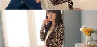 Korean Women Ladies Leopard DoubleBreaste Coat Jacket US Size 4 6
