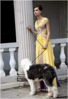 Coniefox Vogue Long Yellow Chiffon Prom dress 80162 XXL