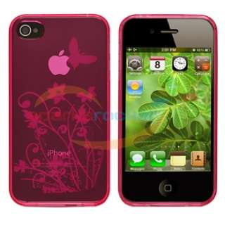 Pink Flower TPU CASE Cover+Car+Travel Charger+PRIVACY FILTER for