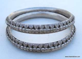 ETHNIC TRIBAL OLD SILVER JEWELRY BRACELET BANGLE PAIR