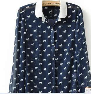 New 2012 Fashion Spring Zara Trf Horse Print Chiffon Women Print Shirt