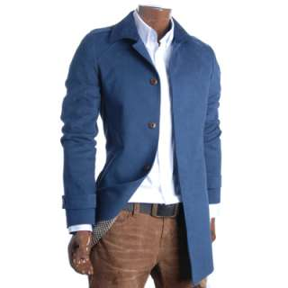 Mens Flatseven Slim Fit Corduroy collared Coat Jacket Blue M L XL
