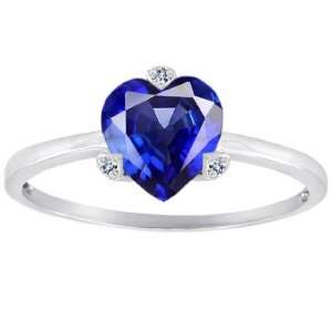 CandyGem 10k Gold Lab Created Heart Shape Sapphire and Diamonds Ring