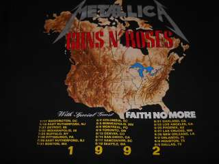 vintage METALLICA GUNS N ROSES TOUR 92 BLACK t shirt XL