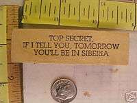 MOUNTED RUBBER STAMP TOP SECRET IF i TELL YOU TOMORROW