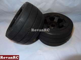 Rear On road RACING SLICK Tires, 6 spoke wheels fits HPI Baja 5B Buggy