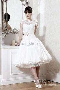 2012 White Short Sleeve Ball Wedding Bridal Dress Prom Evening