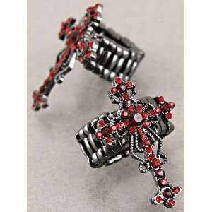 Fashion Jewelry Desinger Inspired Silver and Red Cross