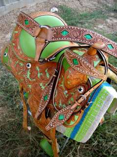 WESTERN LEATHER BARREL SHOW TRAIL HORSE SADDLE TACK SET RODEO SAD31