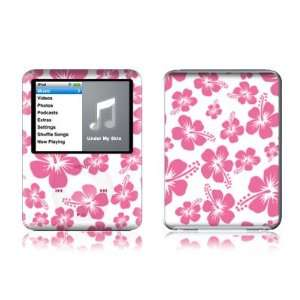 Pink Hibiscus Design Protective Decal Skin Sticker for Apple iPod nano