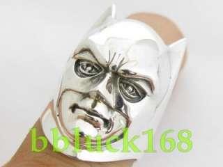 BATMAN HEAD HELMET .925 SILVER RING JOKER ROBIN MASK FIGURE TOY COMIC
