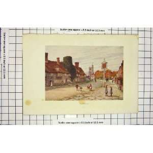 COLOUR PRINT STREET SCENE BIDDENDEN CHILDREN PLAYING Home