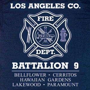Los Angeles County Fire Dept. Battalion 9 T shirt XL