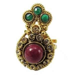 Iba Traditional Gold Tone Adjustable Ring Kundan Zircon Ring Indian
