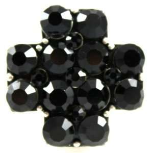 com Gorgeous Black Covered Crystal Cross Fashion Ring on Stretch Band