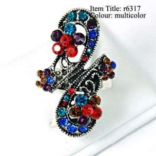 Tibetan Silver Inset Gemstone CZ Adjustable Ring Fashion Jewelry